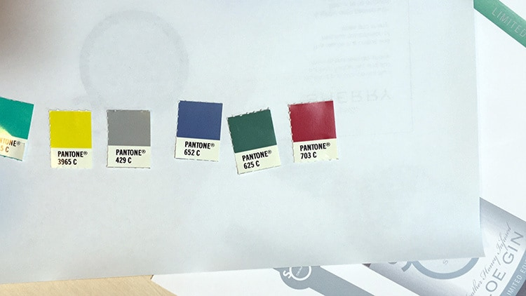 Pantone swatch colours for So Drinks label design