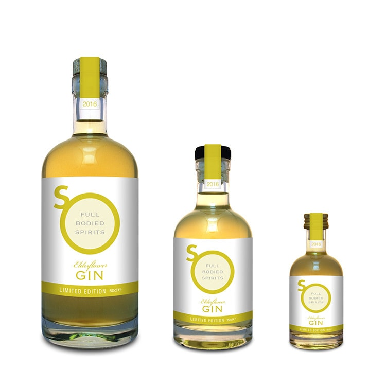 Yellow Eldeflower Gin label design with different sizes for So Drinks