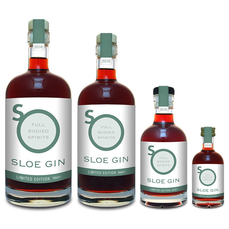 Sloe Gin label design with different sizes for So Drinks