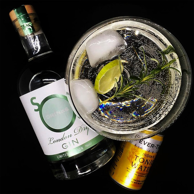 So Drinks London Dry Gin with tonic water plan view photography for So Drinks