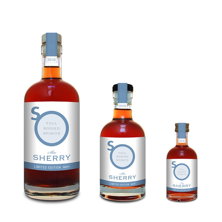 Blue Sherry label design with different sizes for So Drinks