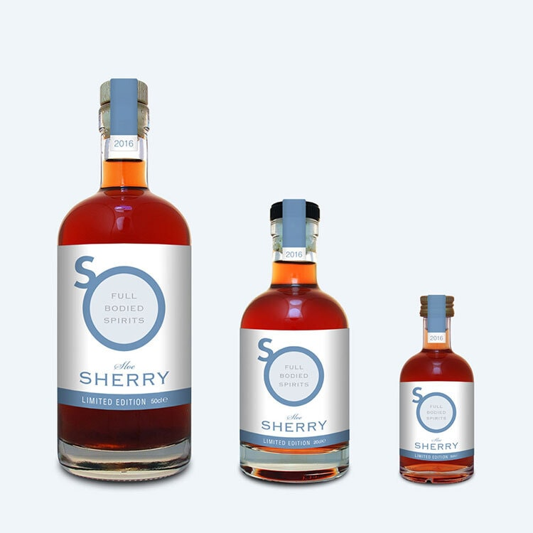 Blue Sherry Gin label design with different sizes and pastel blue background for So Drinks