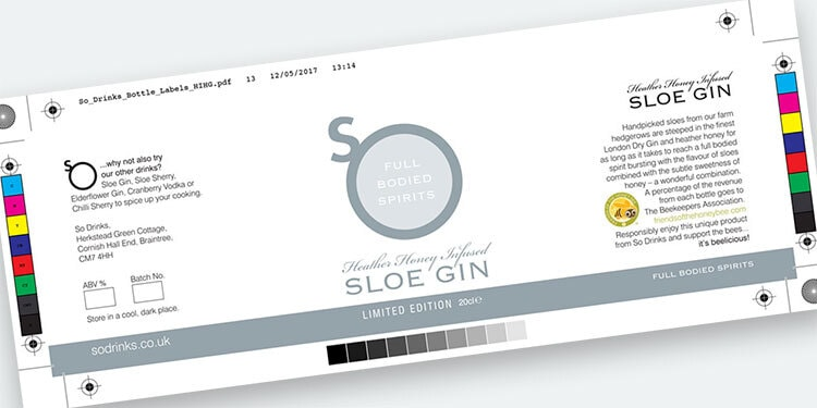 Sloe Gin artwork label design with bleed for So Drinks