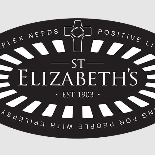 Reversed St Elizabeths with cross and outline with strapline branding design Thumbnail
