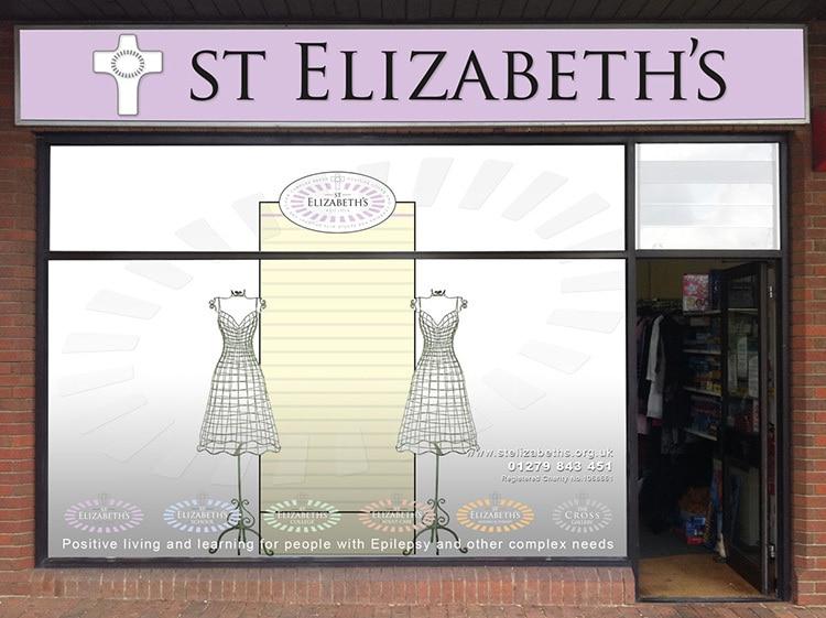 Shopfront design with window treatment for Thorley St Elizabeth's shop