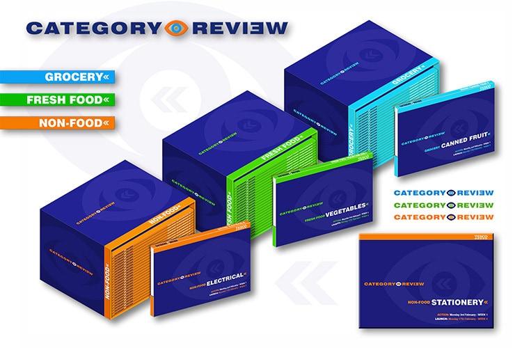 Category review brochure print design for Tesco