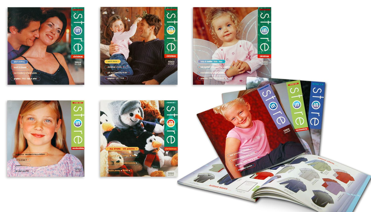 In-store various front cover designs brochure print design for Tesco