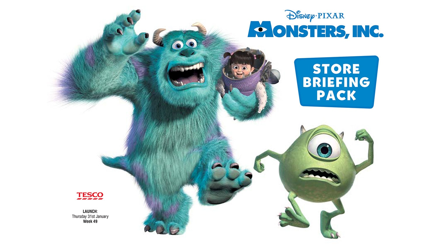 Monsters Inc. briefing pack print design for Tesco