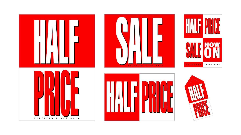 Half Price promotional design materials for Tesco retail stores