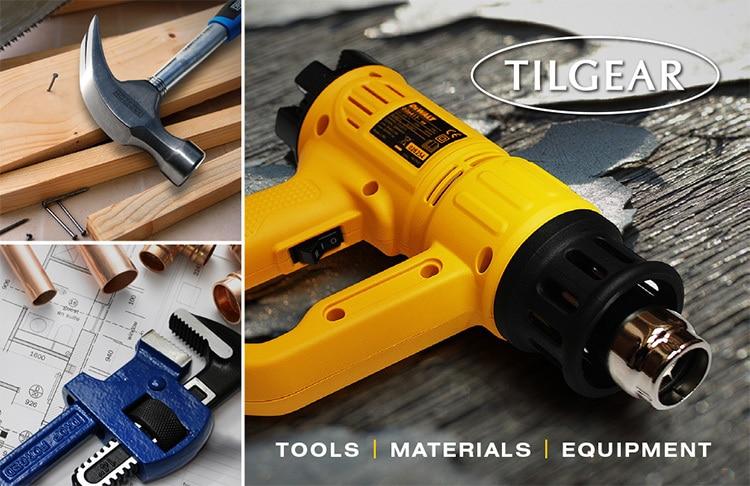 Back of Tilgear business card branding design showing different hand tools