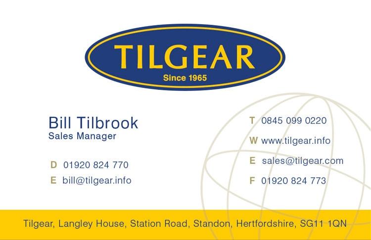 Front of Tilgear business card branding design
