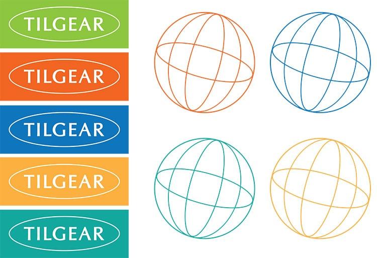 Tilgear Branding Design and globe symbol in different colour variations