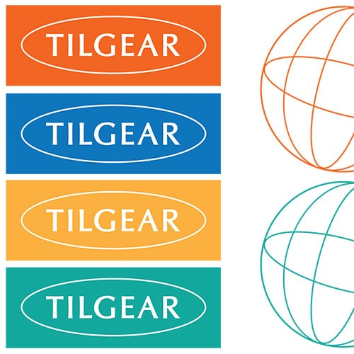 Tilgear Branding Design and globe symbol in different colour variations Thumbnail