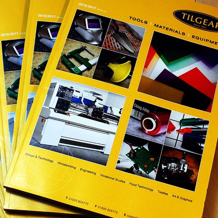 Front cover of Tilgear brochure design stacked