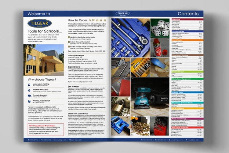 An open spread introduction and content of Tilgear brochure