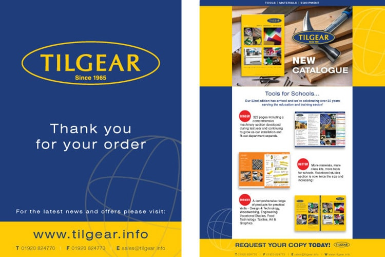 Thank you for your order card front and back print design for Tilgear