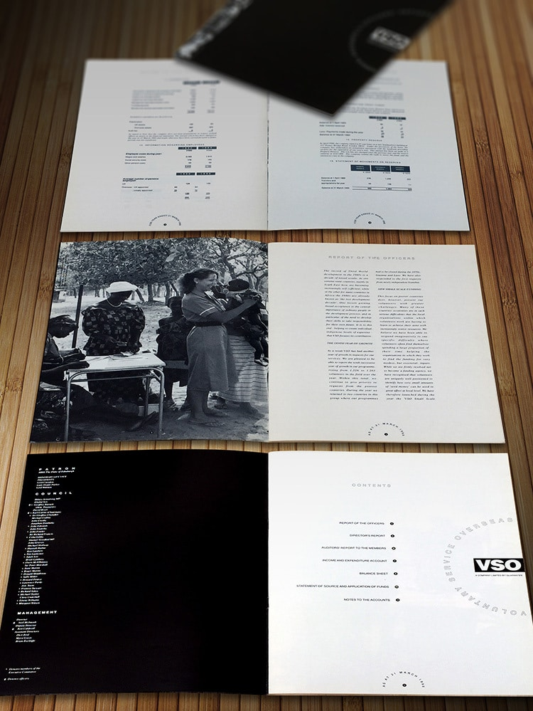 Annual accounts design the open spread showing pages for VSO