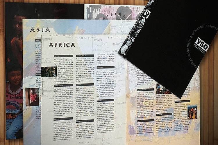 VSO annual accounts design the front cover and spread print design