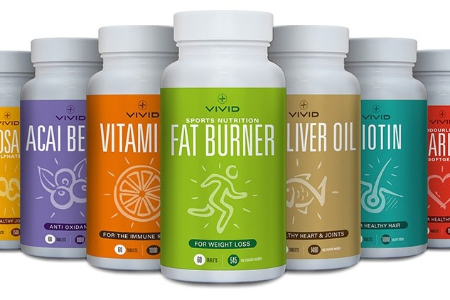 Label design for Vivid Health's range of different vitamins