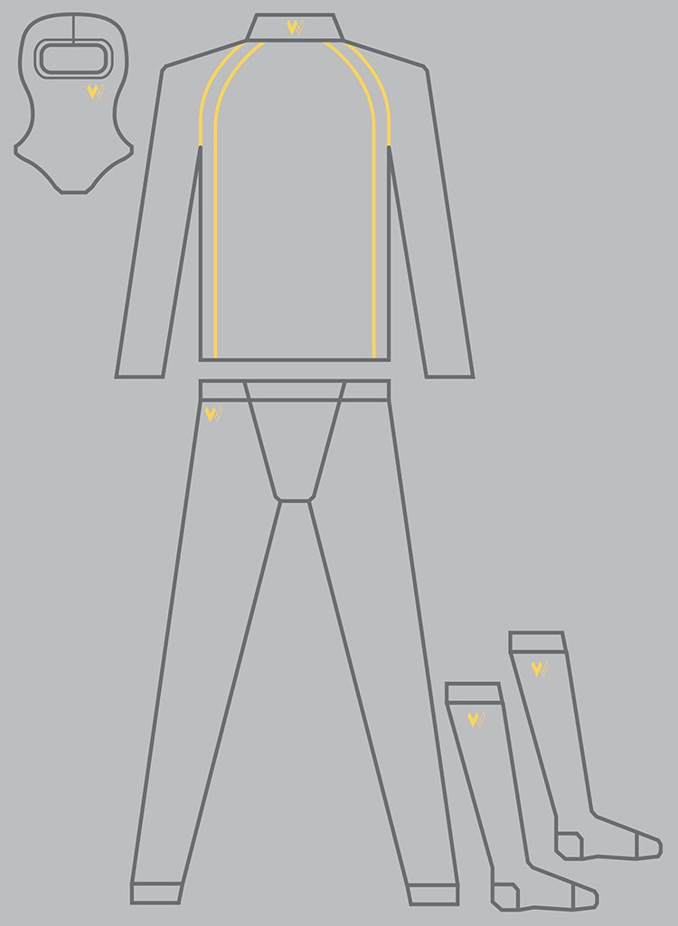 Garment Illustrations with a yellow accent colour for Walero packaging design