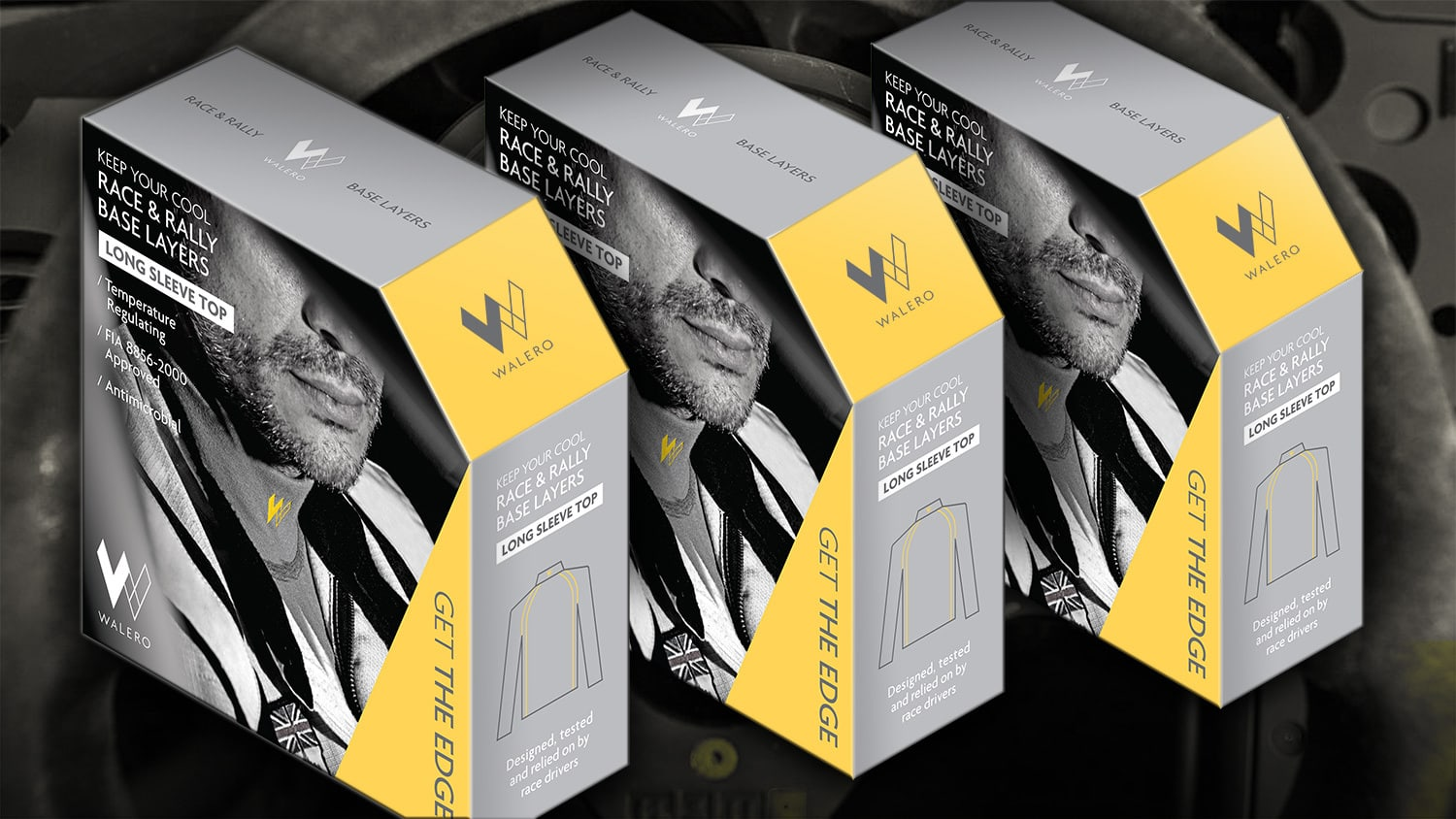 Walero packaging design carton with a full bleed image on front resting with steering wheel background