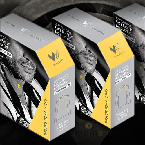 Walero packaging design carton with a full bleed image on front resting with steering wheel background Thumbnail