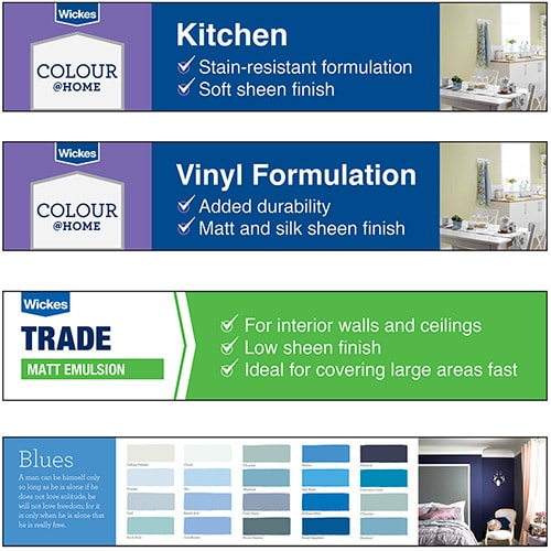 Set of paint trade POS headers flat artwork for Wickes retail stores