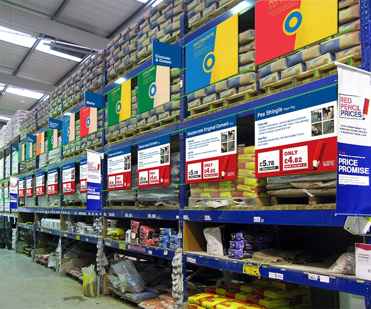 New cement visual POS design in Wickes retail store