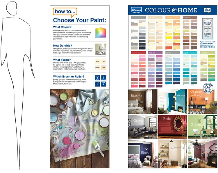 Wickes retail design paint trade POS feature ends with person scale