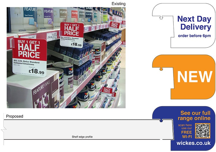 Proposed shelf flags design for the Wickes retail stores