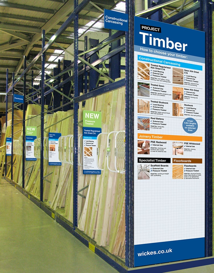 New Timber POS design for Wickes retail store
