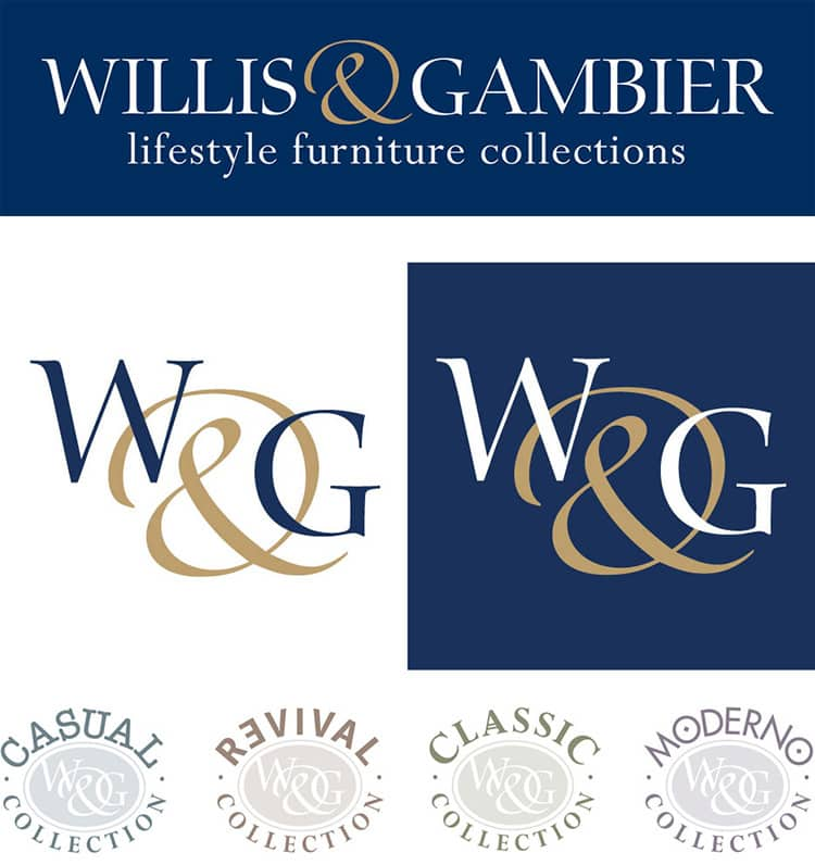 Willis & Gambier and sub-brands set of logo designs