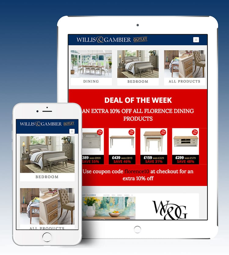 Tablet and Mobile displaying Deal of the Week promotion on the Willis & Gambier Outlet eCommerce website design