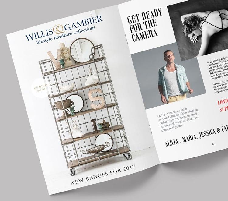 Willis & Gambier open spread catalogue brochure promotional design