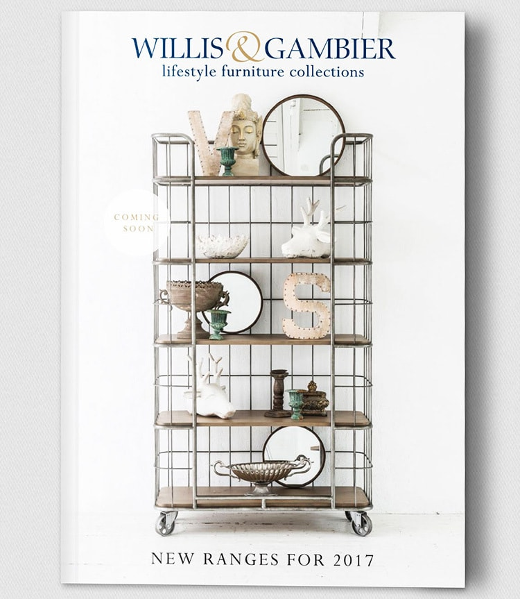 Catalogue Brochure front cover design showing Willis & Gambier furniture ranges