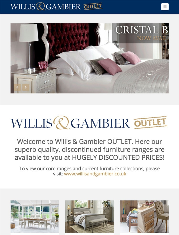 Tablet homepage flat of the Willis & Gambier eCommerce website design