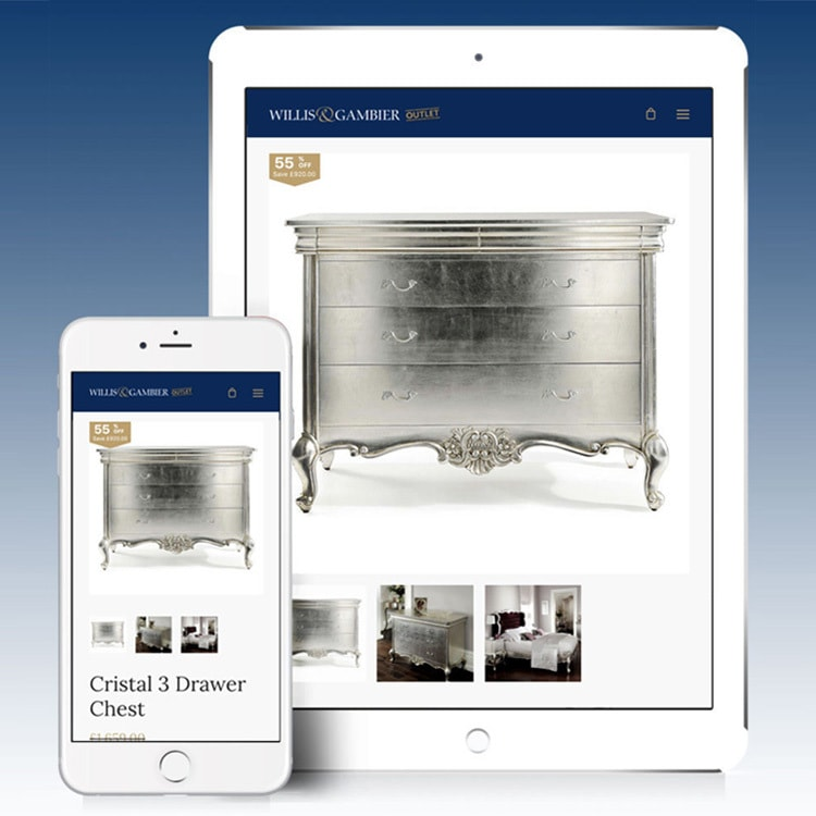Tablet and Mobile displaying shop page of the Willis & Gambier Outlet eCommerce website design