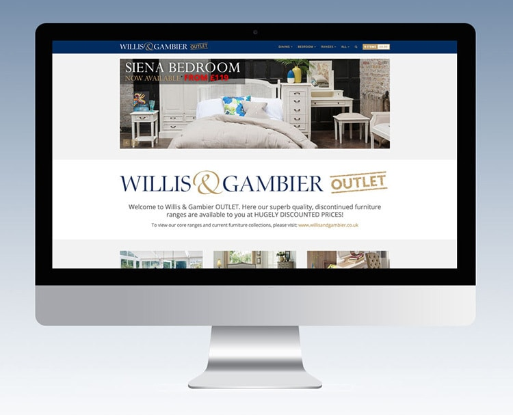 Front page of Willis & Gambier Outlet eCommerce website design shown on a desktop