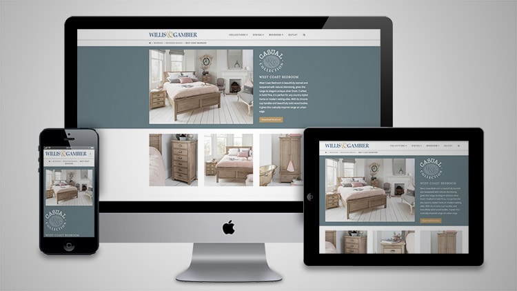 Desktop, Tablet and Mobile phone displaying the Willis & Gambier Casual page of the responsive website design