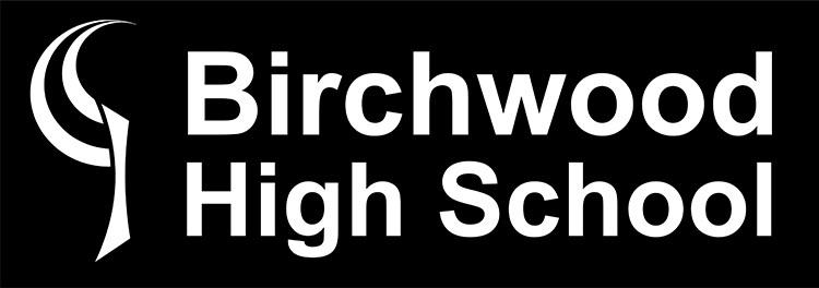 Stacked negative version of Birchwood High School logo