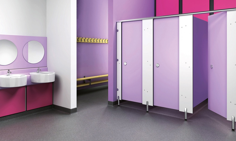 Retouched and enhanced purple bathroom render for Trovex Innovations