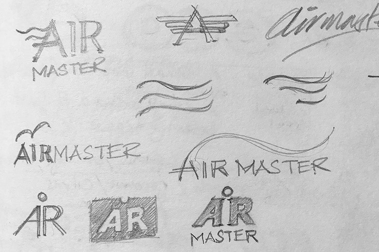 Sketches of CED sub-brand 'Airmaster' logo design