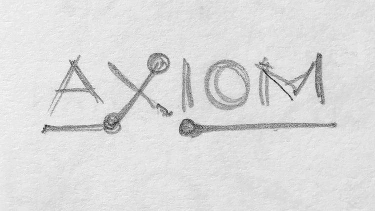 Sketches of CED sub-brand 'Axiom' logo design