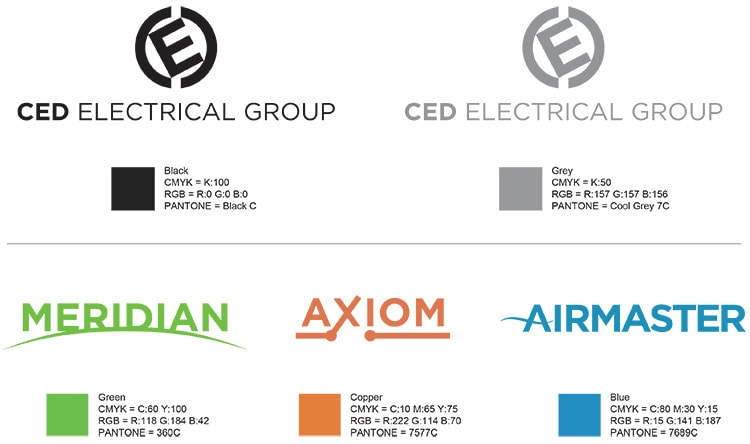 The CED Corporate Colours specification sheet