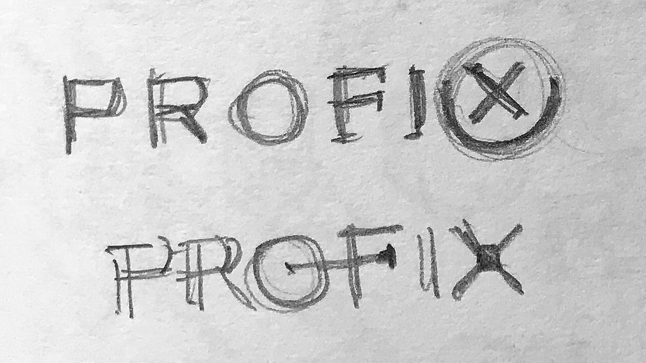 Sketches of CED sub-brand 'Profix' logo design