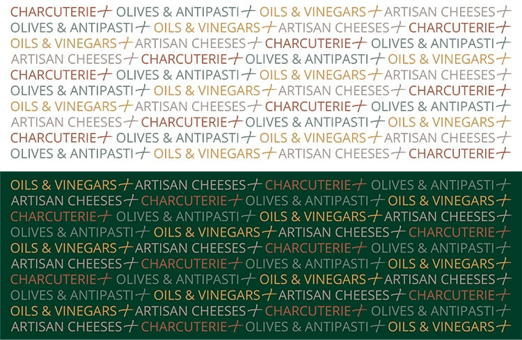 Cheese Plus repeat pattern shown reversed and white background