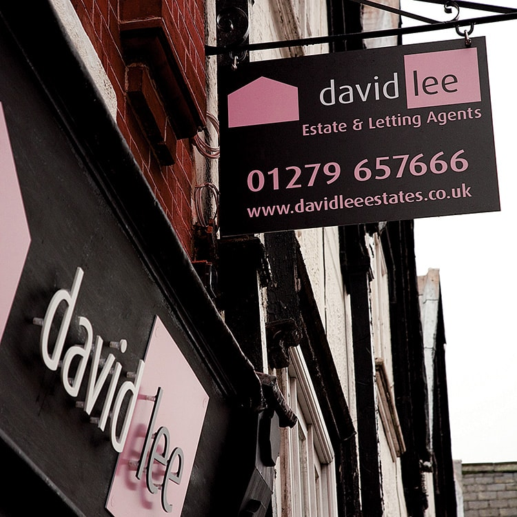 David Lee Estates Branding shopfront design with projecting signage