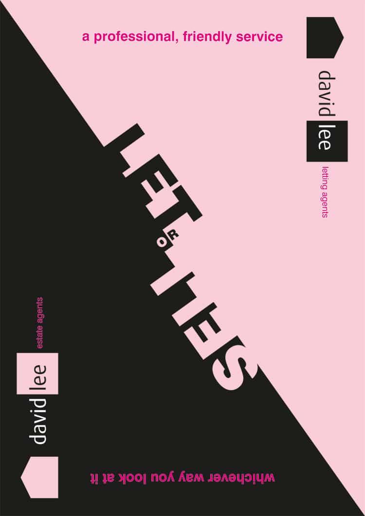 Black and Pink front cover design for David Lee Estates Brochure