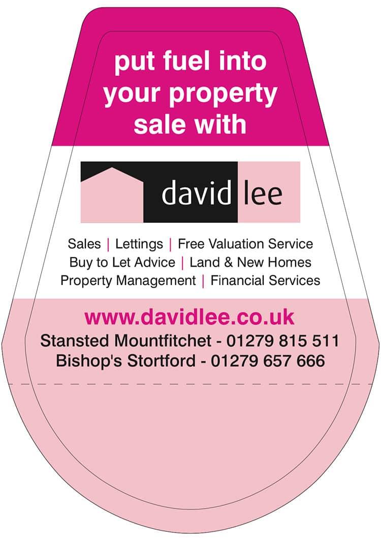 Fuel Pump advertising print design for David Lee Estates