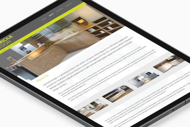 Tablet showing homepage of Domicile Design responsive website design